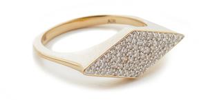 Adina 14k Gold Stretched Diamond Signet Ring