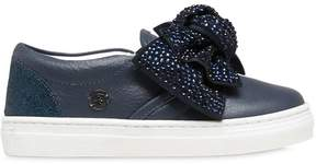 Miss Blumarine Bow Embellished Nappa Leather Sneakers