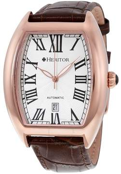 Heritor Redmond Automatic Silver Dial Brown Leather Men's Watch