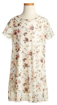 Love, Fire Girl's Floral Mesh T-Shirt Dress