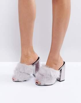 Public Desire Gray Faux Fur Mule