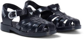 Armani Junior Navy Logo Rubber Jelly Shoes