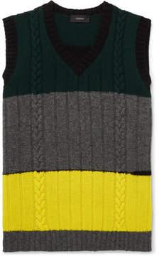 Joseph Slim-Fit Colour-Block Cable-Knit Wool Sweater Vest