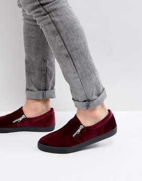 Asos Slip On Sneakers In Burgundy Velvet With Zips