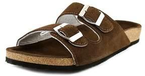 Lamo Sequoia Women Open Toe Leather Brown Slides Sandal.