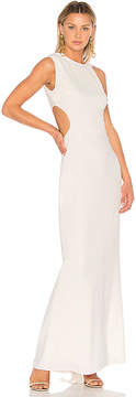 Halston Asymmetrical Sleeve Round Back Gown