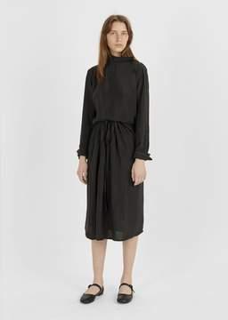 Atlantique Ascoli Cupro Drawstring Midi Skirt Black Size: OS