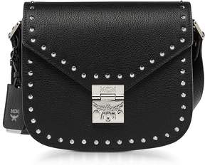 MCM Black Patricia Studded Outline Park Avenue Small Shoulder Bag