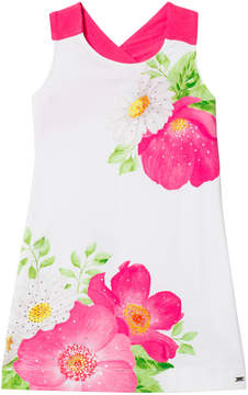 Mayoral Fuchsia Floral Diamante Dress