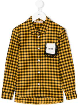 No.21 Kids check fitted shirt