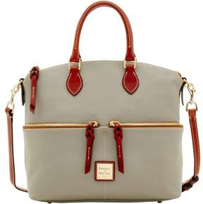 Dooney & Bourke Pebble Grain Double Pocket Satchel - SMOKE - STYLE