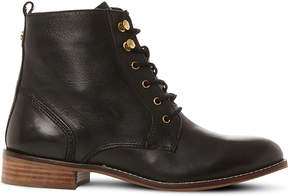 Dune Ladies Black Classic Quincey Leather Lace-Up Boots