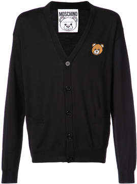 Moschino bear crest v-neck cardigan