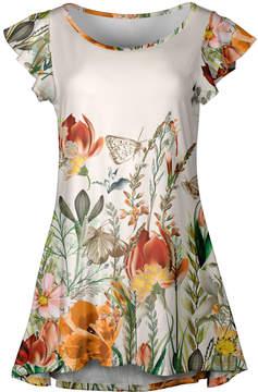 Lily Beige Floral Flutter-Sleeve Tunic - Women & Plus