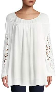 Context Pleated Lace-Trim Top