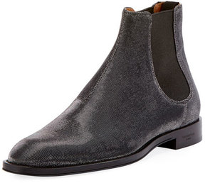 Givenchy Rider Metallic Textured Chelsea Boot, Silver