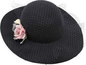 MonnaLisa Wool Felt Wide Brim Hat With Tulle