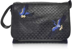 Emporio Armani Black Embossed Eco-Leather Logo Messenger Bag