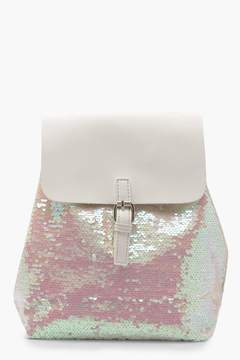 boohoo Sequin Faux Leather Rucksack