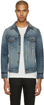 Saint Laurent Blue Denim Sweet Dreams Shark Patch Jacket
