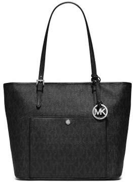 Michael Kors MICHAEL Womens Jet Set Leather Signature Tote Handbag (Black) - BLACK - STYLE