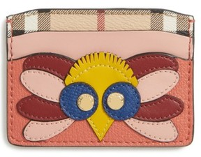 Burberry Women's Izzy Beasts Owl Leather Card Case - Red - RED - STYLE
