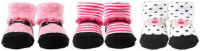 Luvable Friends Pink & Black Three-Pair Shoe Socks Set - Infant