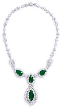 Green Jade Diamond jade 18k gold marquise pendant necklace