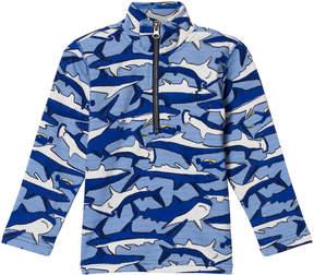 Joules Blue Shark and Stripe Printed 1/2 Zip Sweatshirt