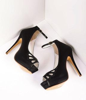 Unique Vintage Retro Style Black Leatherette Peep Toe Platform Cutout Pumps Shoes