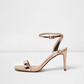 River Island Womens Gold barely there strappy court heel sandals