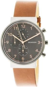 Skagen Men's Ancher SKW6418 Grey Leather Japanese Quartz Fashion Watch
