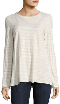 Eileen Fisher Lightweight Striped Organic Cotton Jersey Top