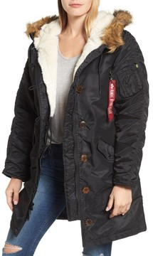 Alpha Industries Women's Elyse Water Resistant Winter Snorkel Parka With Faux-Fur Trim