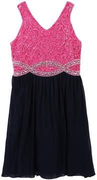 Speechless Girls 7-16 Rhinestone Infinity Waistline Dress
