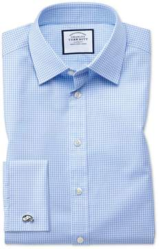 Charles Tyrwhitt Slim Fit Small Gingham Sky Blue Cotton Dress Shirt Single Cuff Size 15/32