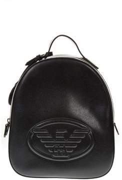 Emporio Armani Black Saffiano Faux Leather Backpack