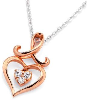 Ice Diamond Accented 18K Rose Gold Heart with 3-Stone Cluster Pendant Necklace