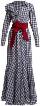 DAY Birger et Mikkelsen JOHANNA ORTIZ Ruffle-trimmed tartan belted linen-blend dress
