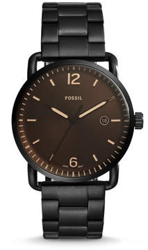 Fossil The Commuter Three-Hand Date Black Stainless Steel Watch