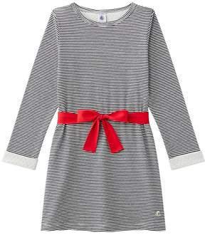 Petit Bateau GIRLS STRIPED DOUBLE KNIT DRESS