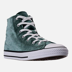 Converse Girls' Grade School Chuck Taylor High Top Velvet Casual Shoes