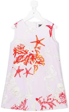 Versace coral, seahorse and starfish print dress