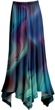 Lily Teal & Purple Abstract Handkerchief Maxi Skirt - Women & Plus