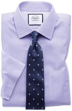 Charles Tyrwhitt Slim Fit Non-Iron Bengal Stripe Short Sleeve Lilac Cotton Dress Shirt Size 14.5/Short