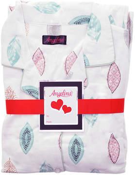 Angelina White & Beige Leaves Flannel Pajama Set - Women