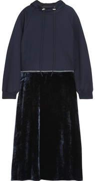 Cédric Charlier Convertible Cotton-jersey And Velvet Hooded Midi Dress - Black