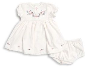 Little Me Baby Girl's Floral Embroidered Dress and Bloomers Set