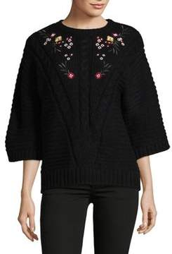 Context Embroidered Bell-Sleeve Sweater