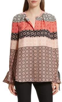 Derek Lam 10 Crosby Tie Sleeve Print Silk Blouse